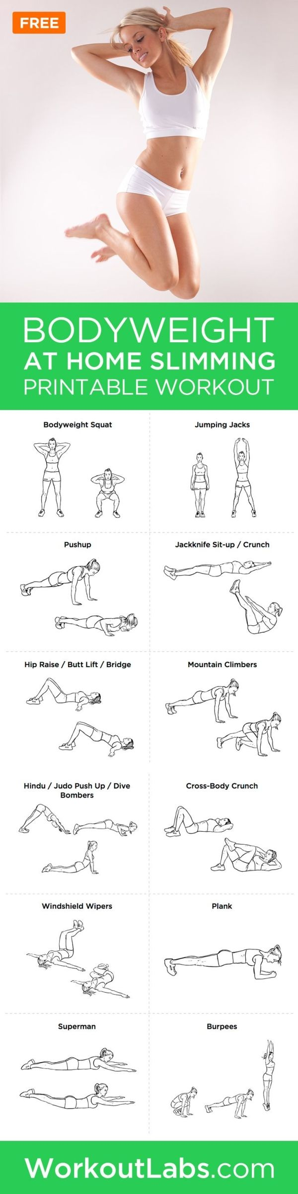 Bodyweight At-Home Full Body Slimming Workout Plan – If you want to step away from the gym and still maintain your fitness level while burning fat, this home workout program is for you. by sally tb