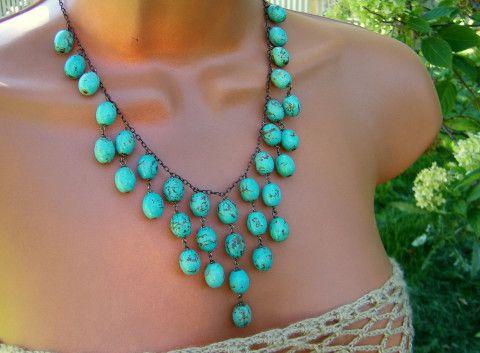 Turquoise Bib Necklace   Etsy