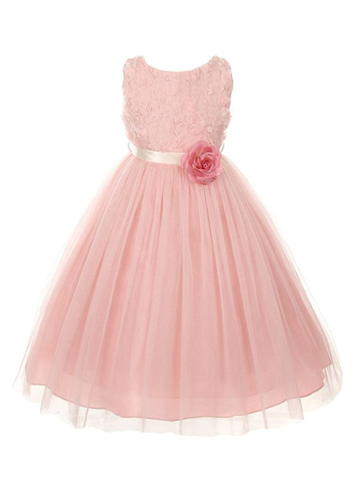 Your little girl will look so sweet in this charming dusty pink special occasion dress with 3-D rose pin and ballerina tulle skirt (sz.2-12) ~ wedding, flower girl, #Easter, birthday ~ Color Me Happy Boutique