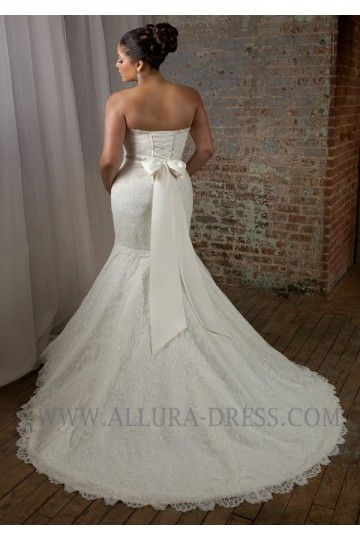 Sweetheart Court Train Lace Trumpet Mermaid Plus Size Wedding Dress 11013018 - Plus Size Wedding Dresses - Wedding Dresses