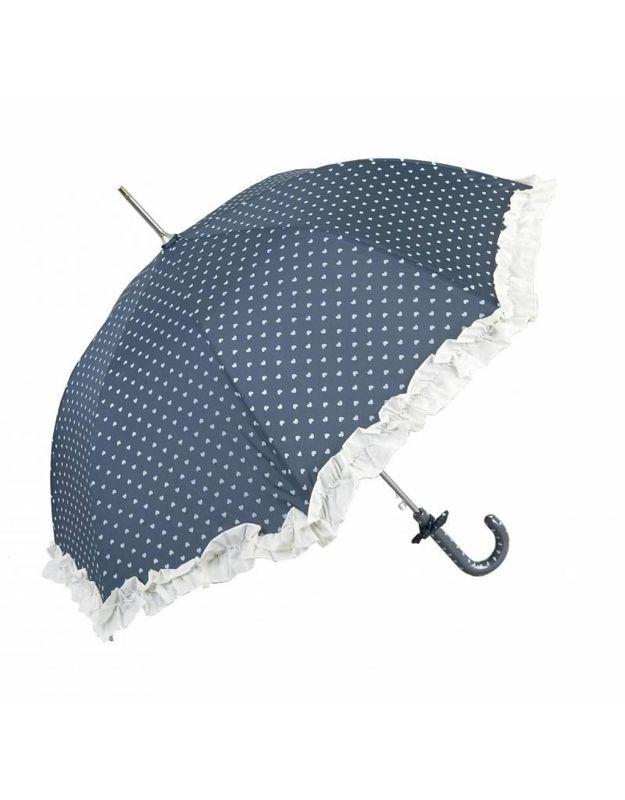 Blauwe vintage paraplu met witte hartjes