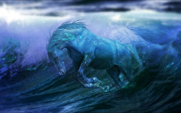 Kelpie ~ I found this by image-searching 'capal uisce' (as in the waterhorses from The Scorpio Races) but have never been able to find who initially made. It's certainly been an inspiring image when I've been writing Sea-Drawn! :-D