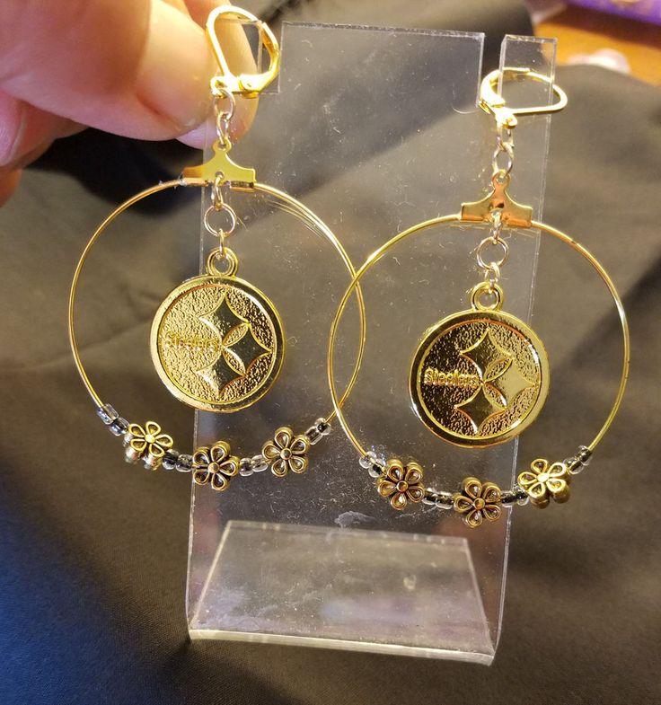 Pittsburgh Steelers Dangling Charm Hoop Earrings #PittsburghSteelers