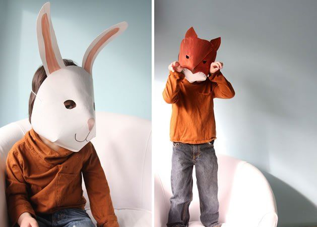 Fun junior paper masks from the Make blog. Simple card, elastic and illustration
