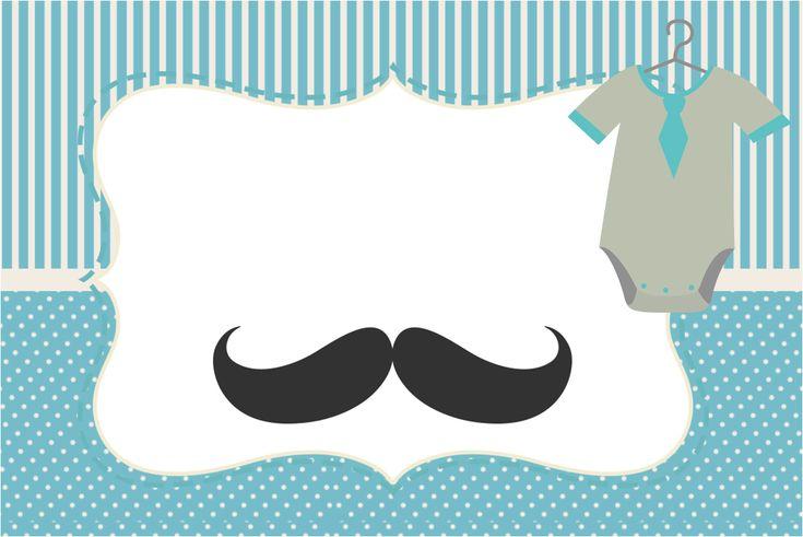 Convite, Moldura e Cartão Chá de Bebê Mustache