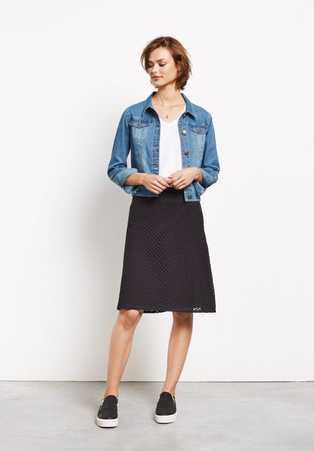 hush | Perforated A Line Skirt