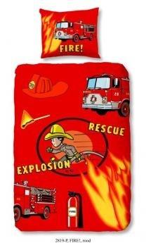 Brandweer dekbedovertrek 140x200/220 (2819, rood)
