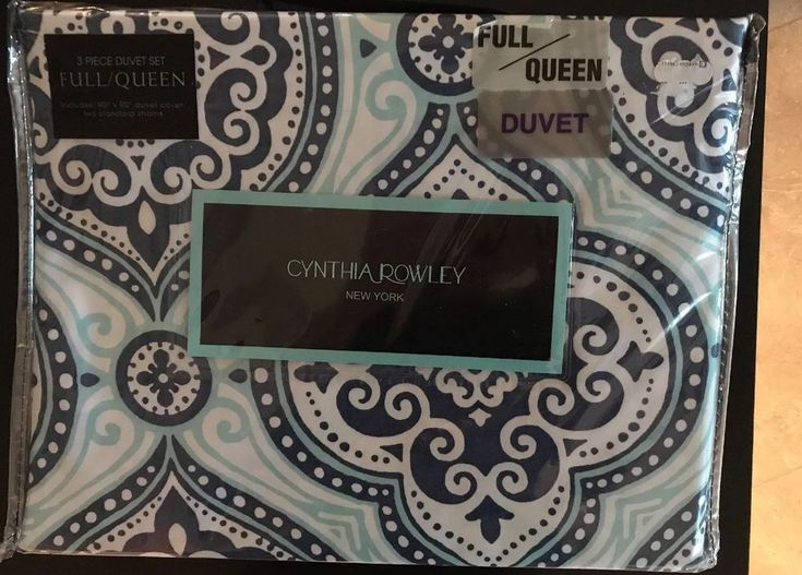 Cynthia Rowley 3 Piece Full Queen Duvet Cover Set Medallion Blue Aqua White New #CynthiaRowley