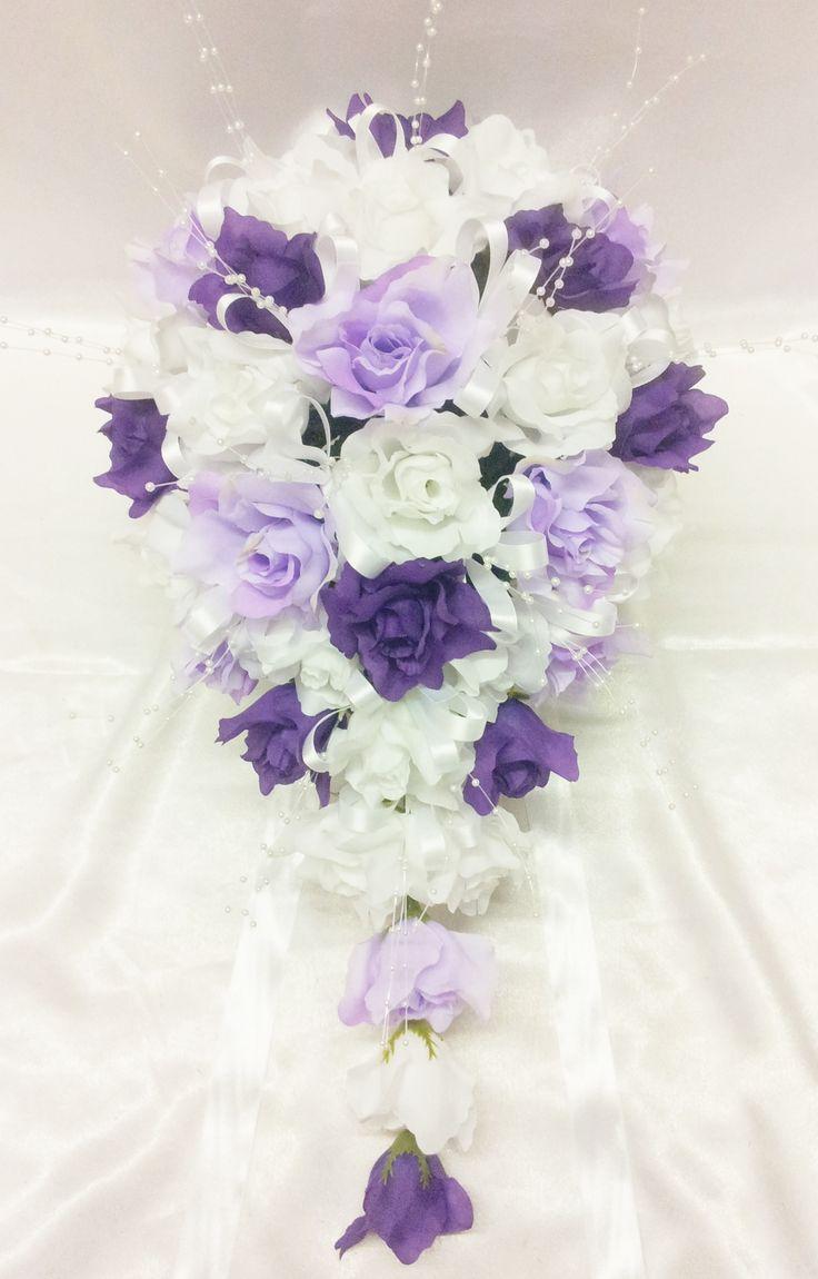 purple rose silk wedding boquet | Bridal Mix White, Lilac & Purple Open Roses Large Teardrop Bouquet