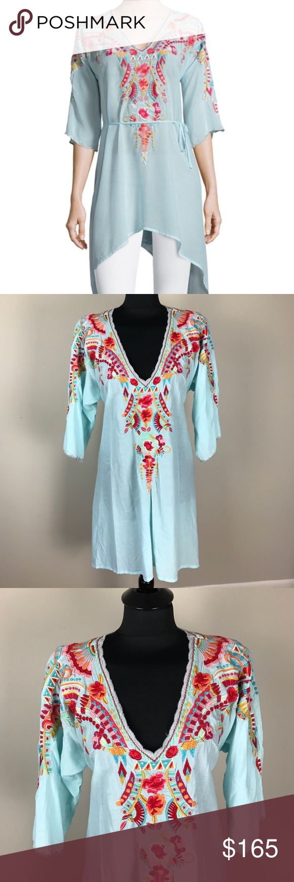 Johnny Was Cleopatra Tunic NWT New with tags beautiful sky blue tunic top with multi-color embroidery. Tie detail in back. Johnny Was Tops Tunics