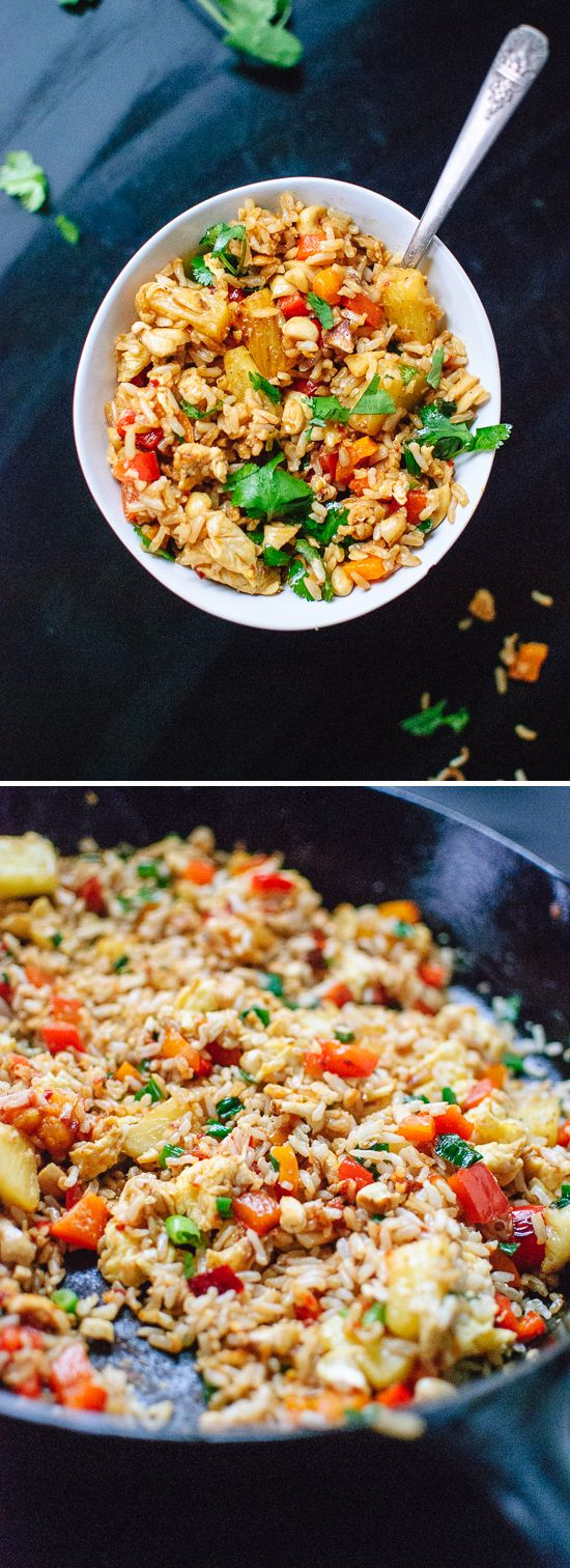 Sweet and spicy Thai pineapple fried rice, a simple vegetarian dinner! - cookieandkate.com Add chicken and shredded carrots, subbed peanuts for cashews.