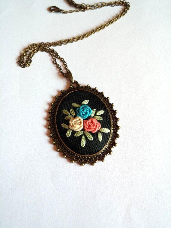 Unique necklaces for women Rose Fabric Necklace by RedWorkStitches