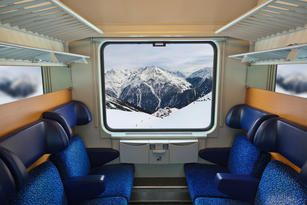 The incredible mountain views while traveling by train in Austria