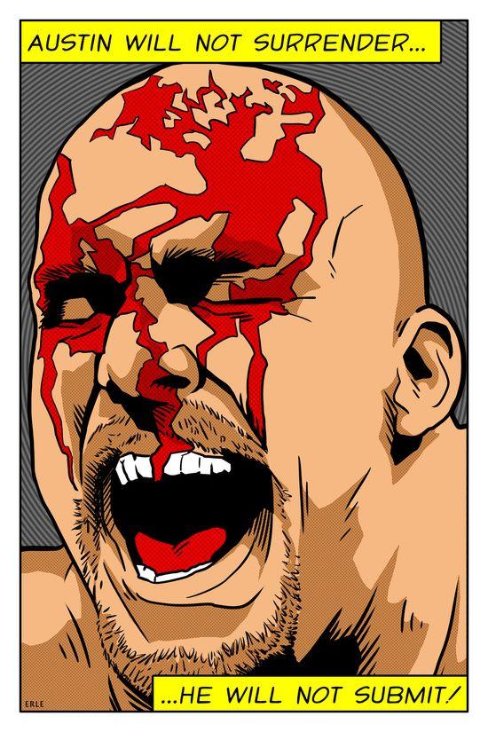 Wrestling Pop Art - Stone Cold Steve Austin Wrestlemania 13 Art ...