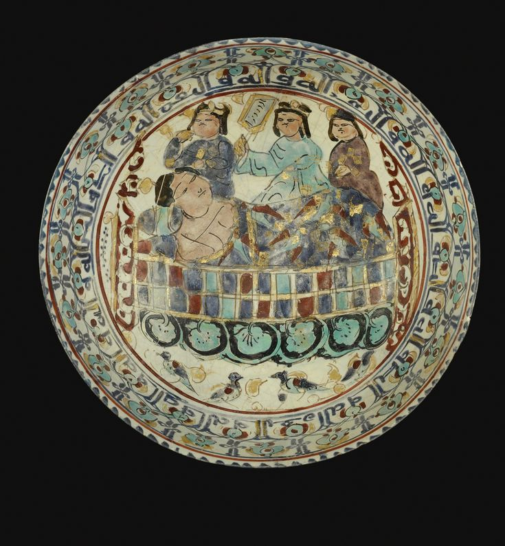 A mina'i bowl with a figure in bed and attendants, Persia, late 12th/early 13th Century