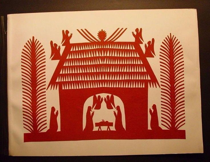 Polish Folk Art Szopka Wycinanki Nativity Scene Kurpie Style Cut-out Vintage   #PolishFolkArt