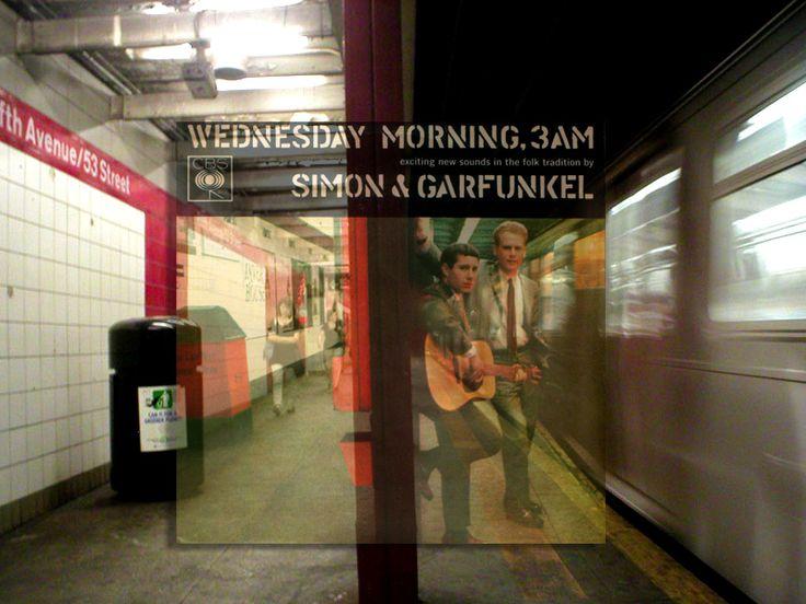 Artist superimposes album art on current photos of exact locations of original art. || Simon & Garfunkel: Wednesday Morning, 3AM