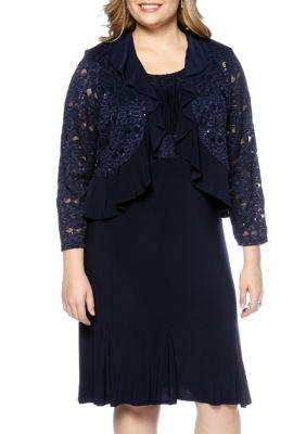 Rm Richards Women's Plus Size Lace Jacket Dress - Blue - 22W