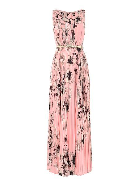 Printed pleated maxi