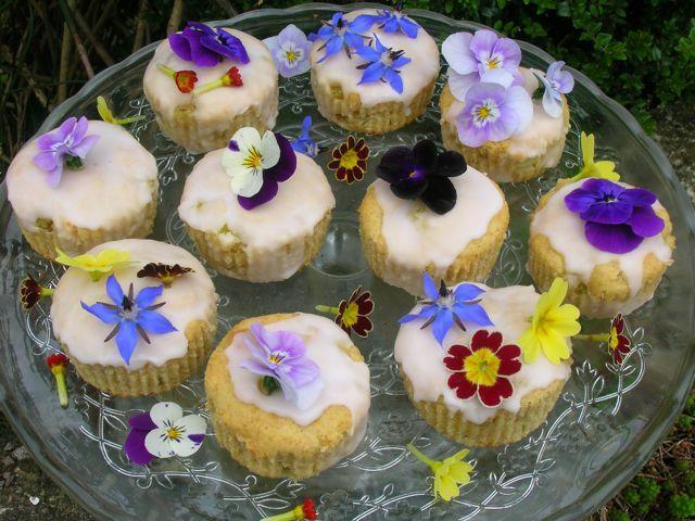 Rhubarb Fairy Cakes and Edible Flowers