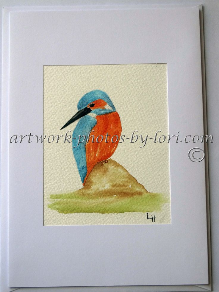 hand painted watercolour notelet of a kingfisher