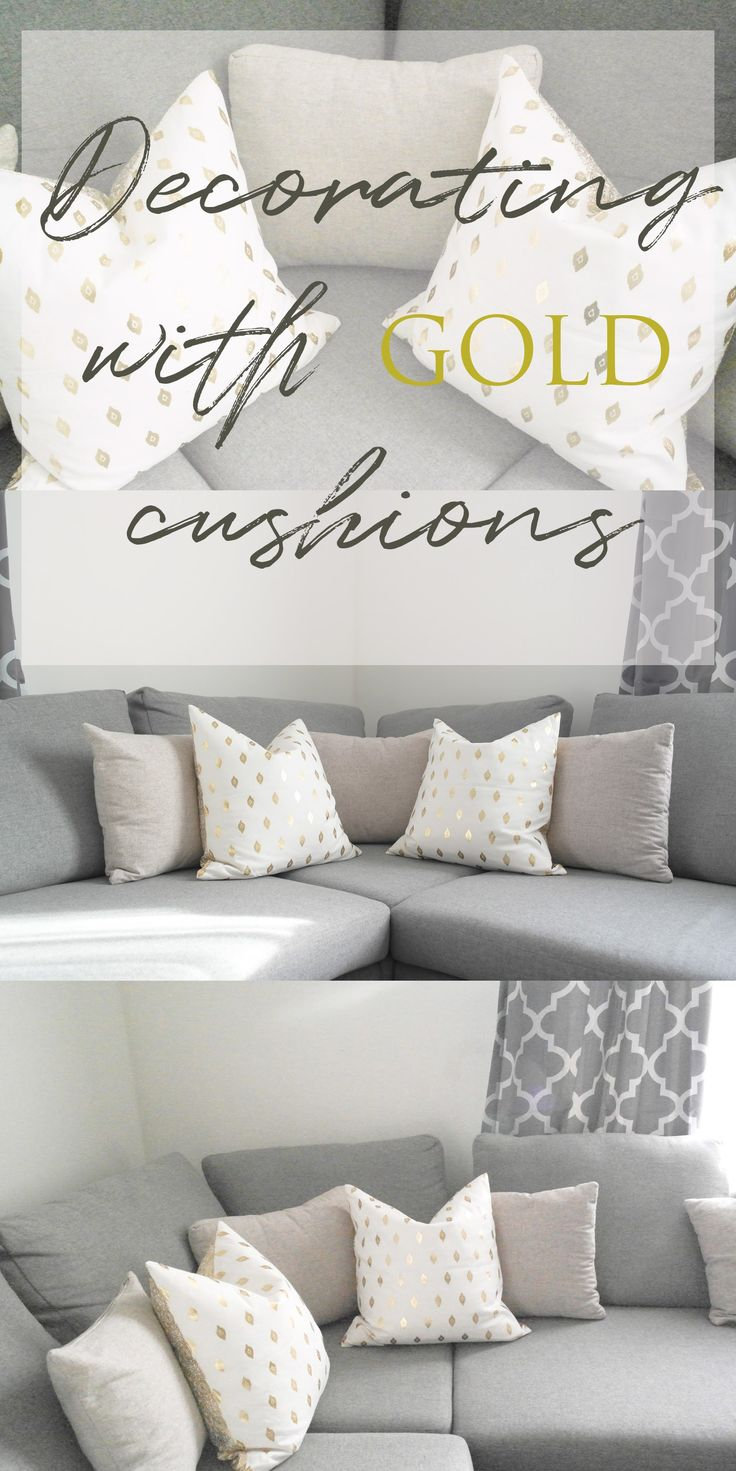 DECORATING WITH GOLD CUSHIONS   #h&mcushions  #decorating #gold #cushions #homeaccessories #greyhome #greysofa #accessories #homeinspiration