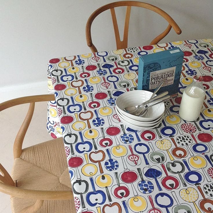 Pomona cotton fabric by Marianne Westman is a vintage 1960's print featuring retro Swedish apples for your home. Make a super table cloth or seat cushions. Available from www.newhousetextiles.co.uk