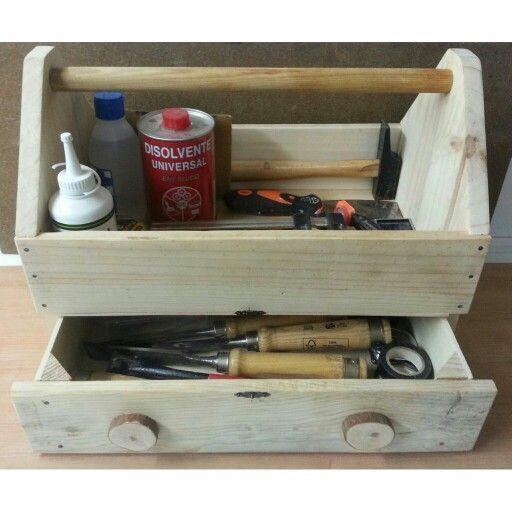 Caja de herramientas antigua de carpintero hecha a mano - Caja madera antigua ...