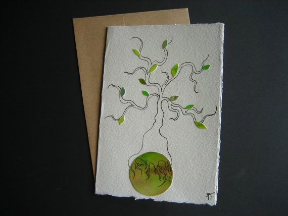 The green planet Watercolor greeting card tree green by Noukshouk