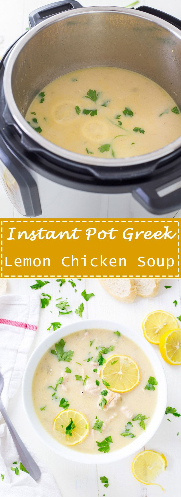 Instant Pot Greek Lemon Chicken Soup is a low carb, keto greek soup that combines simple ingredients that results in a refreshing meal or a great starter! Perfect for Sunday supper with the family. #ad