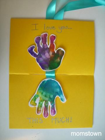 I Love You This Much - Toddler Made Fathers Day Card and Keepsake   momstown arts and crafts