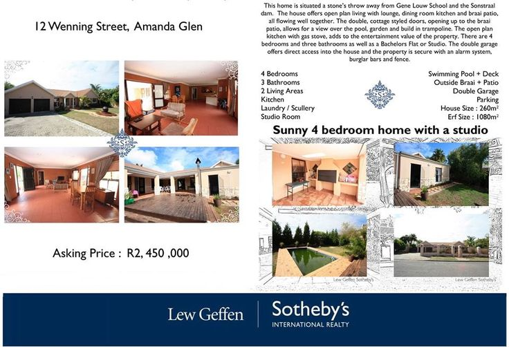 Sunny 4 bedroom home with a studio: 12 Wenning Street, Amanda Glen ON SHOW this Sunday (8 May) from 15h00 to 17h00.   Asking price: R 2 450 000 Contact: Louise Kock - 072 507 1626  To view more information please see the following link: http://www.sothebysrealty.co.za/results/residential/for-sale/durbanville/amanda-glen/house/29898/