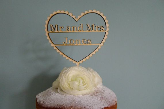 Mr and Mrs Personalised Wedding Cake topper by VictoriasStitches