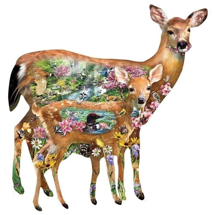 Forest Friends Deer Shaped Jigsaw Puzzle 1000 Piece Lori Schory Wildlife Art #puzzles #3dpuzzle #deer