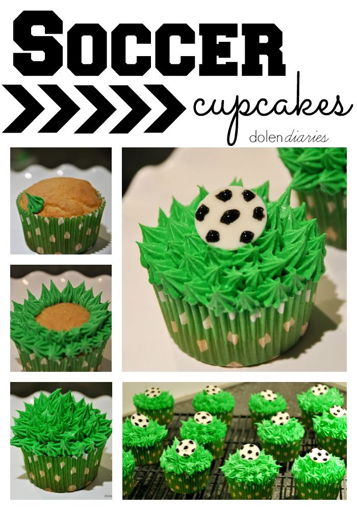Soccer Cupcakes these are SO quick & easy! They look way more involved than they are! {Dolen Diaries}