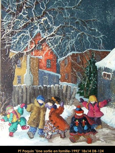 Original oil painting on canevas by Paulin Paquin #paulinepaquin #art #artist #canadianartist #quebecartist #family #winterouting #originalpainting #oil #balcondart #multiartltee