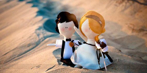 Wedding Dolls handmade soft bride and groom by Cromanticamente, $80.00