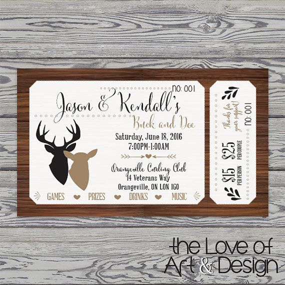 Printed Raffle Buck and Doe Tickets -Jack and Jill Tickets - Stag and Doe…