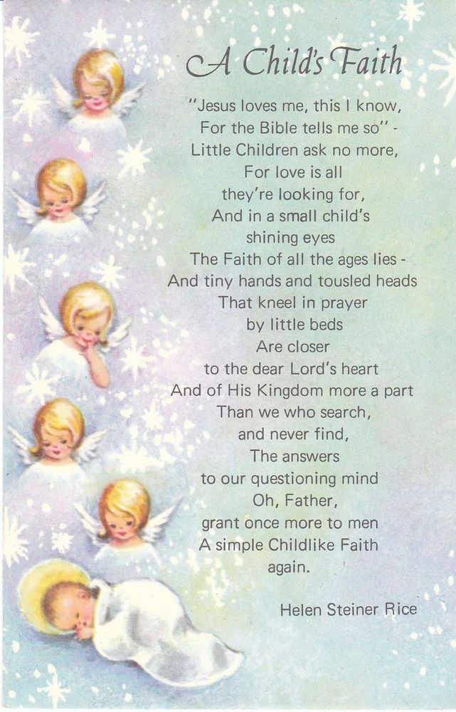 Vintage Christmas Card Angels A Childs Faith Helen