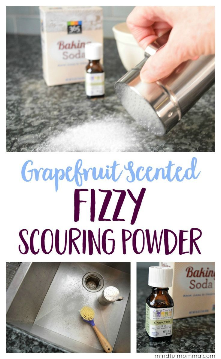 This Fizzy Scouring Powder scented with grapefruit essential oil might actually make you WANT to clean! | DIY Cleaning Products | Essential Oils | Healthy Non-Toxic Living