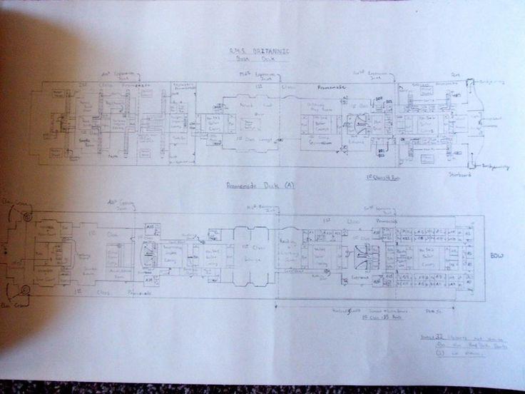 7 Стр. Карандашный Рисунок Палубе Планы White Star Line Корабля RMS Британнике  picclick.com