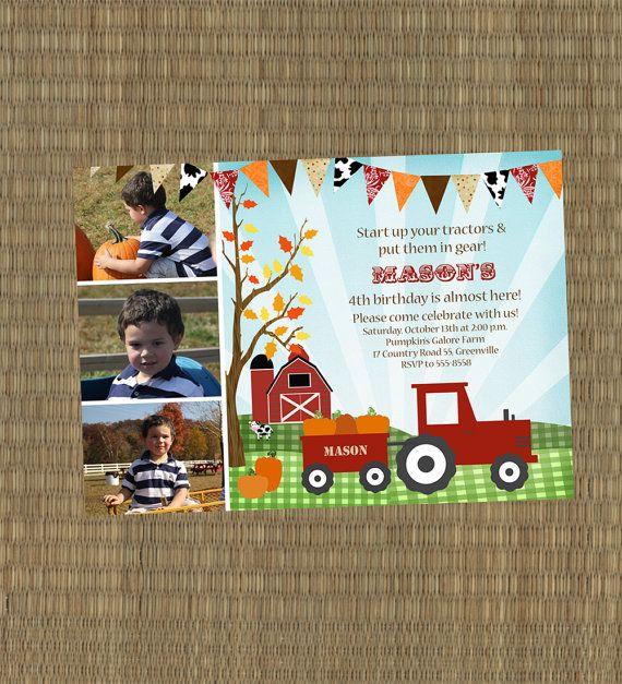 Fall Birthday Invitation - Farm Pumpkin Patch Kids Birthday Invitation - Tractor Pumpkins Invite on Etsy, $15.00