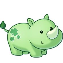 Green Rhino baby with clovers - cute!