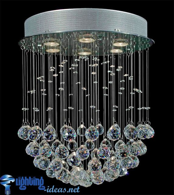 Large round chandelier with drop of crystal pendants