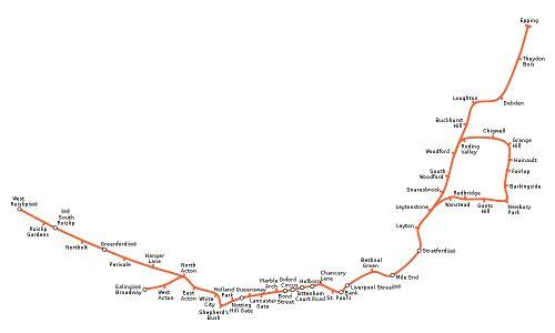 Mapa de Central Line, metro de Londres