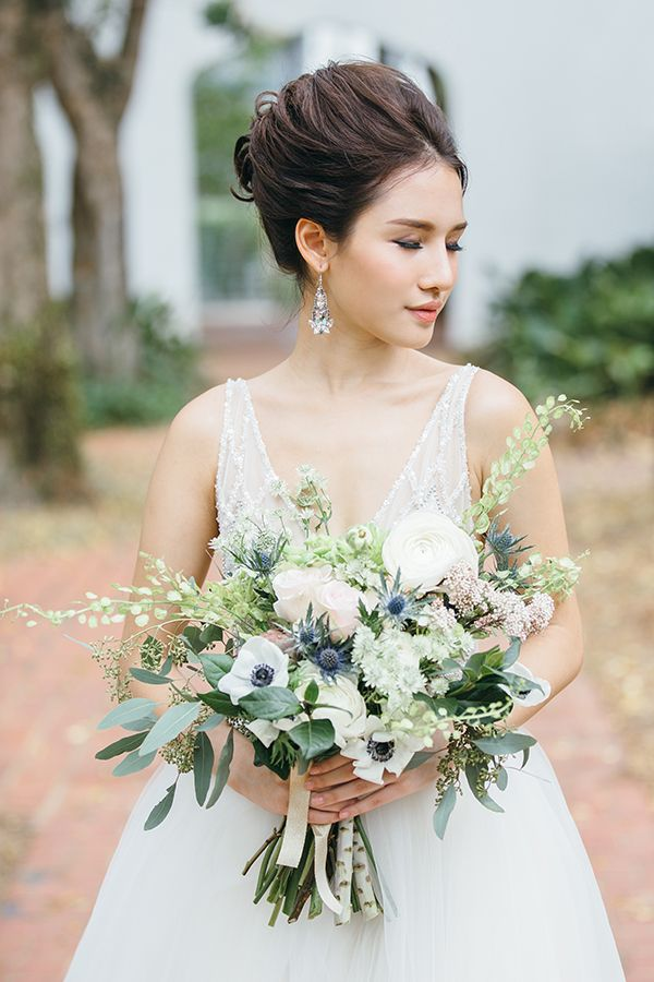 Gorgeous rustic bouquet using my favourite sea anemones and blue thistles! Rustic Wedding Inspirations Featuring a Grazing Table. Photography: Bloc Memoire Photography / Styling, Food & Florals: Heaven in a Wild Flower /Gown: Caramel & Co / Hair and Makeup: Cleo Chang Makeup and Hair / Model: Jade Rasif / Jewellery: Anton Heunis from Pinwheel Jewels / Stationery: Happy Hands Project.