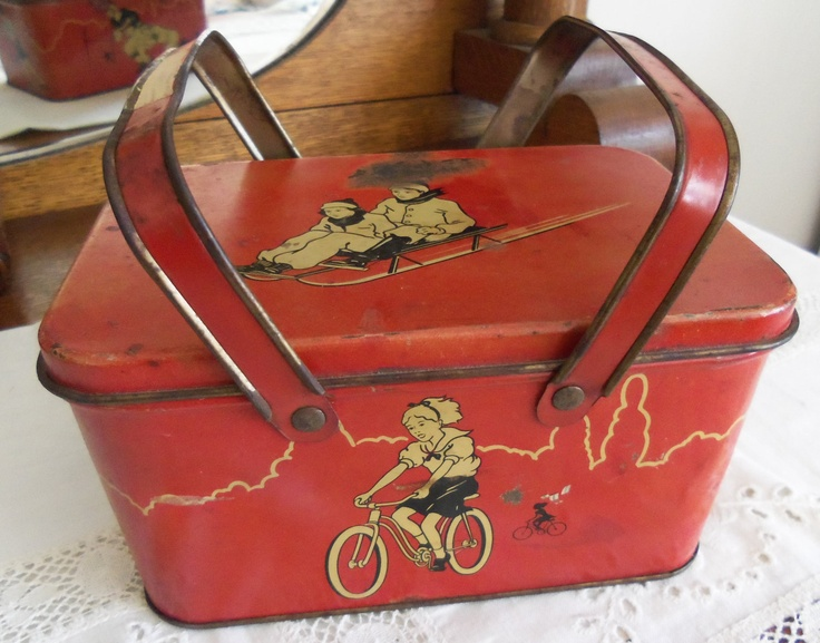 Vintage Owens Illinois Child's Red Tin Metal Lunch Pail