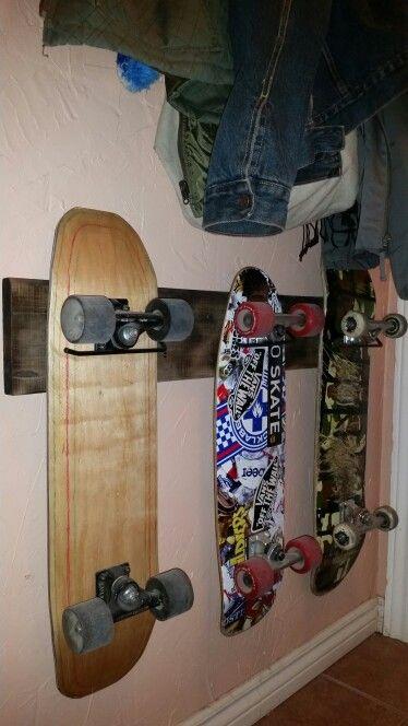 I made this #barnboard #skateboard rack for beside the #backdoor.