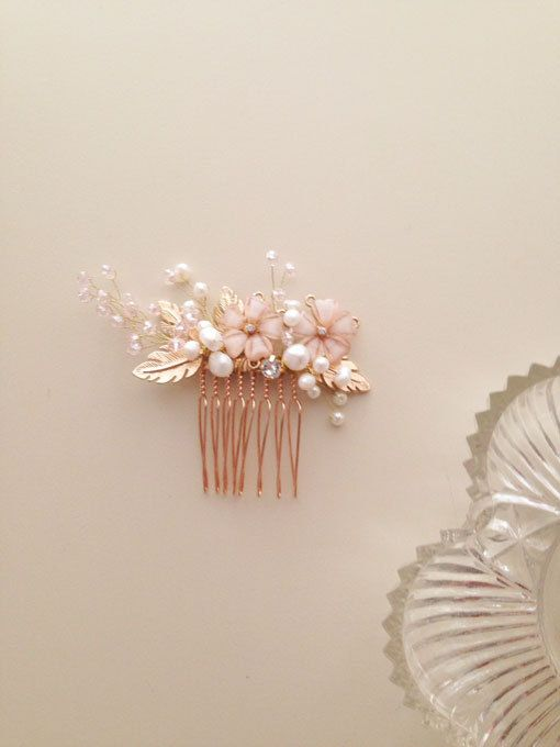 Blush Pink and gold wedding Bridal hair comb by amuandpri on Etsy