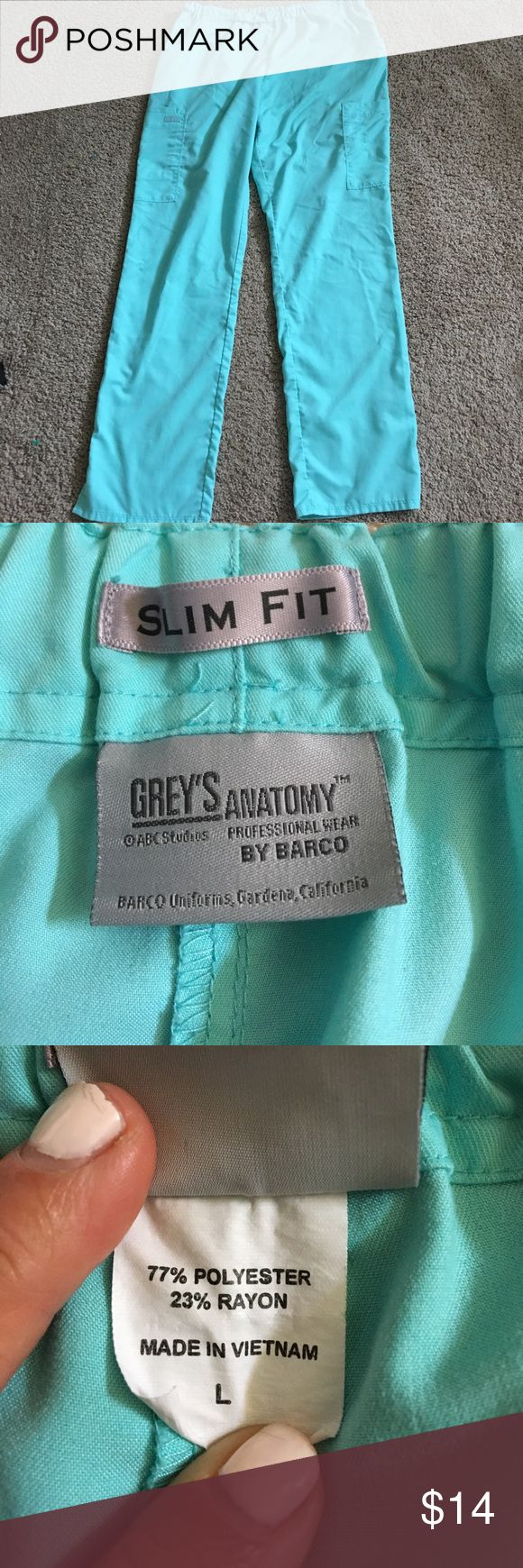 Grey's Anatomy size large slim fit scrub pants Finally they made a slim fit !!!🤗this is for a pair of Grey's Anatomy size large slim fit scrub pants see our other scrubs would like to bundle and save you money grey's Anatomy Pants